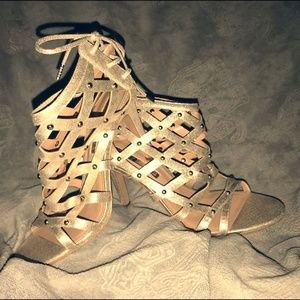 Gold/nude strappy heels